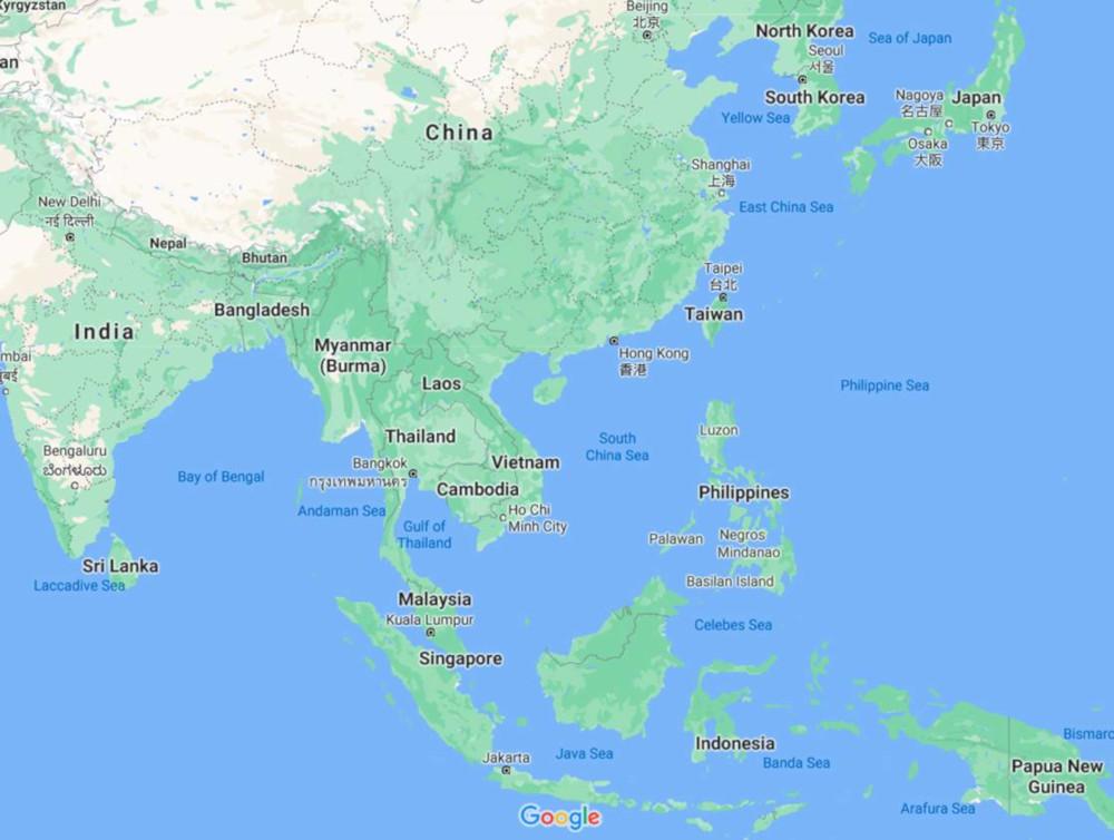 Mapa sur de asia