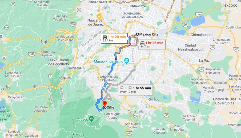 Ubicacion Volcan Xitle en Google Maps