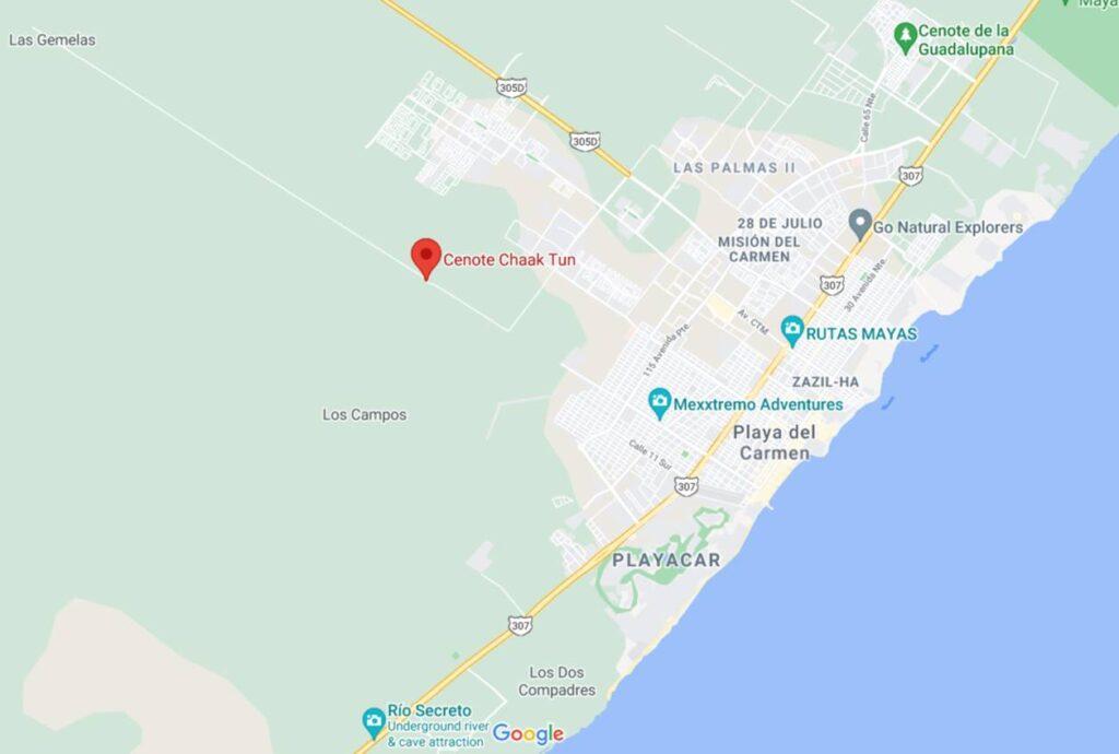 Cenote Chaak Tun Mapa Google