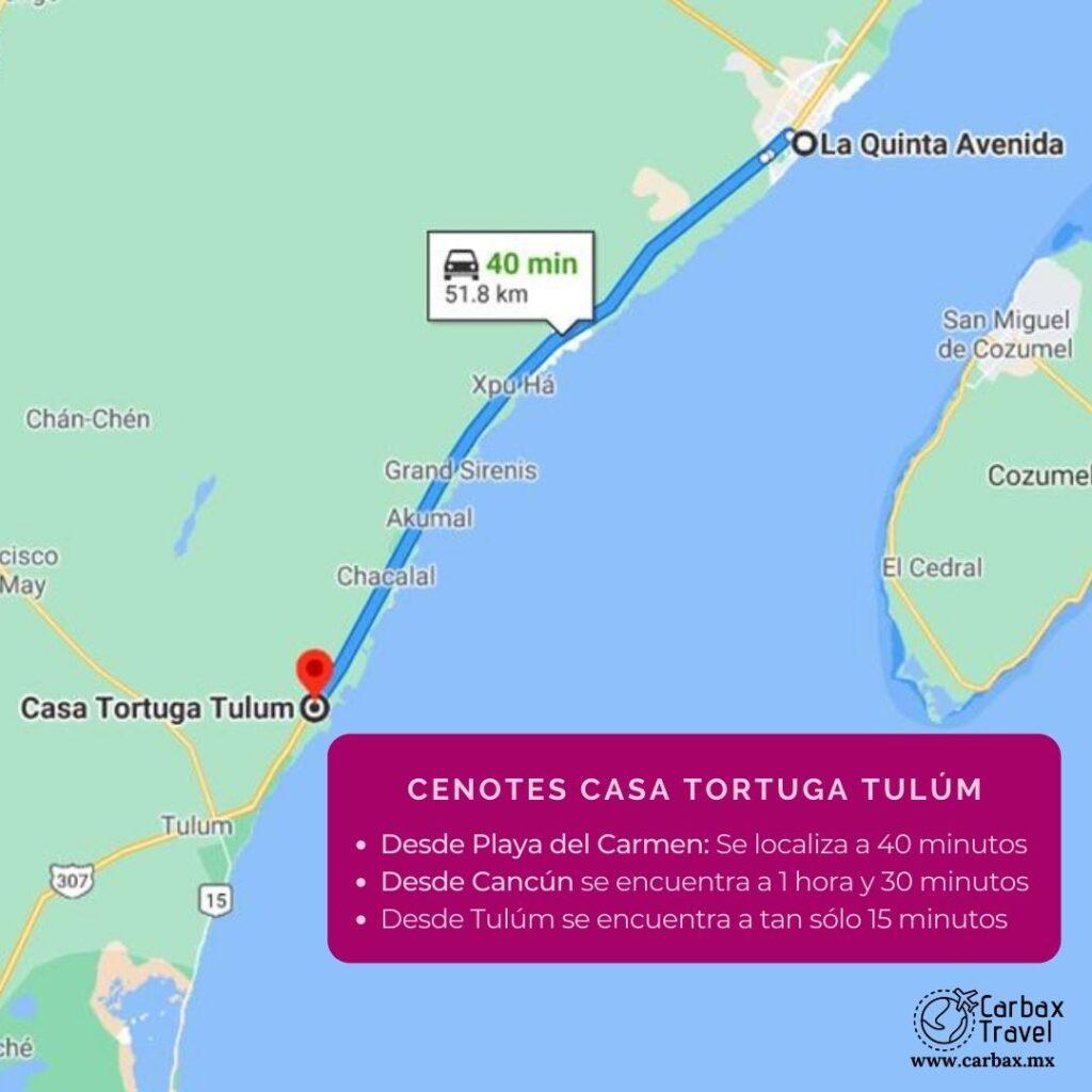 Cenotes Casa Tortuga Mapa